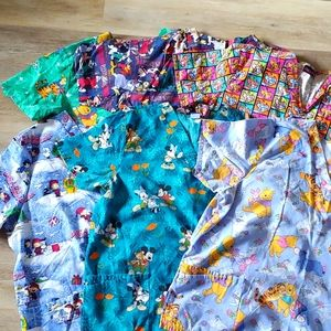 Mixed Lot of 6 Scrubs Pooh Mickey Looney Panther